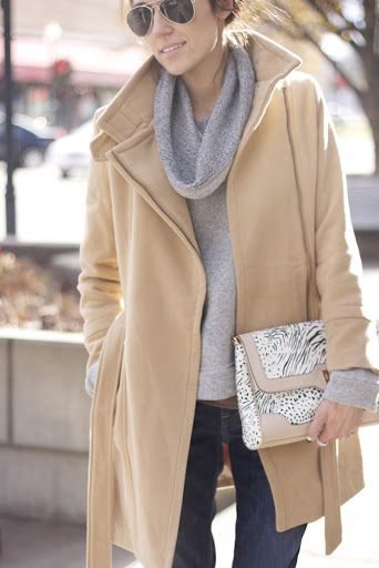 Perfect winter look - Camel Wool Jacket + gray cowl neck sweater, dark skinny jeans and great clutch and sunglasses. Add messy hair and you are set.