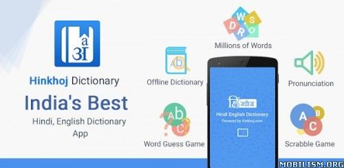 HinKhoj English Hindi Dictionary Premium 8.2.0.0Requirements: 2.3+Overview: English to Hindi and Hindi to English dictionary and translator with OFFLINE mode by HinKhoj. It is largest dictionary with over lakhs of Hindi and English words. Meaning of...