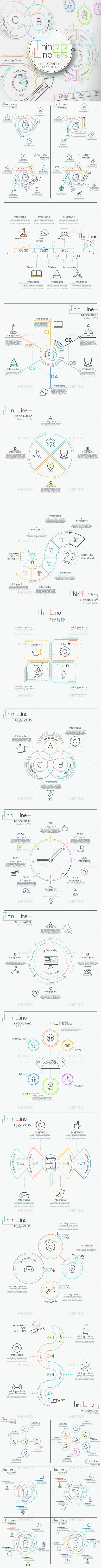 Thin Line Infographic Set Design Template - Infographics Template PSD, Vector EPS, AI Illustrator. Download here: https://graphicriver.net/item/thin-line-infographic-set/16930311?s_rank=4&ref=yinkira