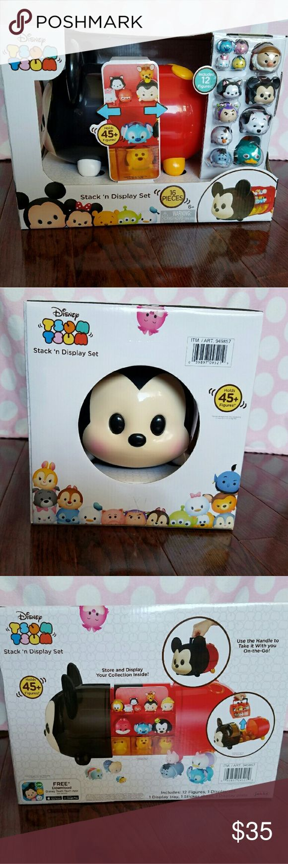 tsum tsum stack n display set Disney Tsum Tsum 16 Piece Stack 'n Display - - Collect, stack and display your favorite Disney Tsum Tsum characters with the new Winnie Stack 'n Display Set - Set comes with 12 figures and holds 45 plus figures in compartments of varying sizes - The movable shelves provide a perfect fit for all of your Tsum Tsum figures - Easy to clean, just wipe with a damp cloth Recommended for ages 6 and up Other
