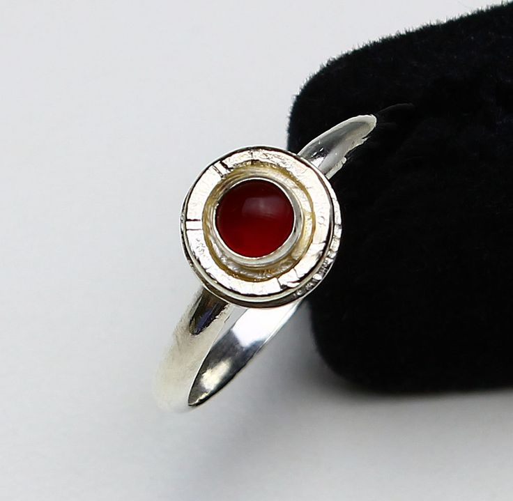 Handcrafted Sterling Silver Carnelian Size 9.5 Ring Bright Finish Stack Ring Friendship Ring Virgo Birthstone Natural Stone Round 416741714 by MaryRoffDesigns on Etsy