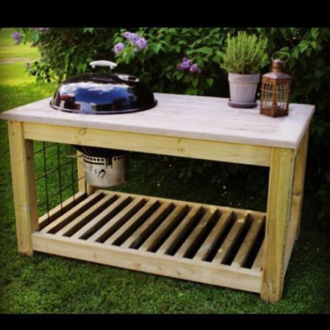 Måste visa denna Underbar grillbänk med gjuten skiva i betong där skivan är gjuten på träform för at - gjutetibetong