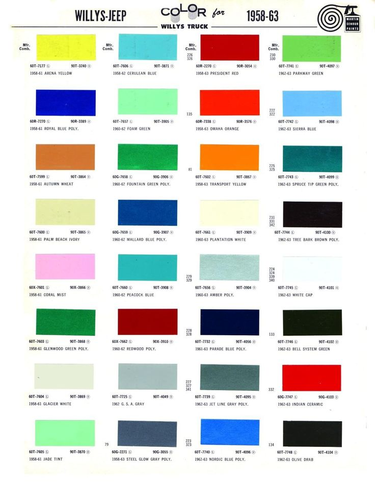 1963 color palette - Google Search | Paint charts, Willys ...