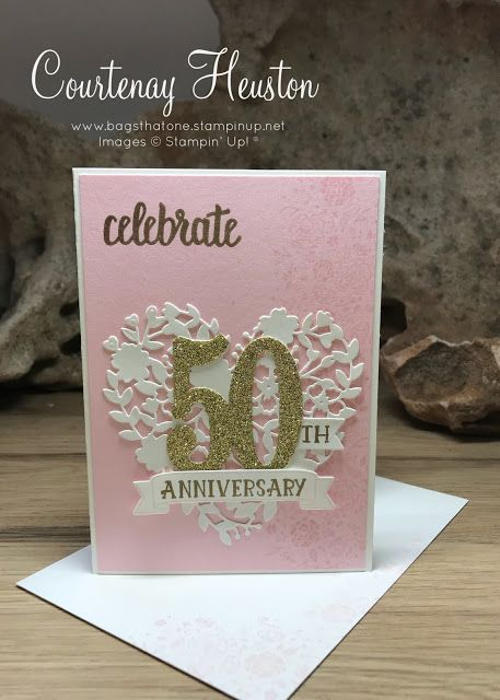 Bags That One!: 50th Wedding Anniversary invites - Stampin' Up, Pink Pirouette, Blooming heart celebration invitation