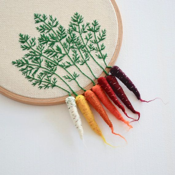Rainbow Carrots Hand Embroidered Hoop by LittleHerbBouquet | Etsy
