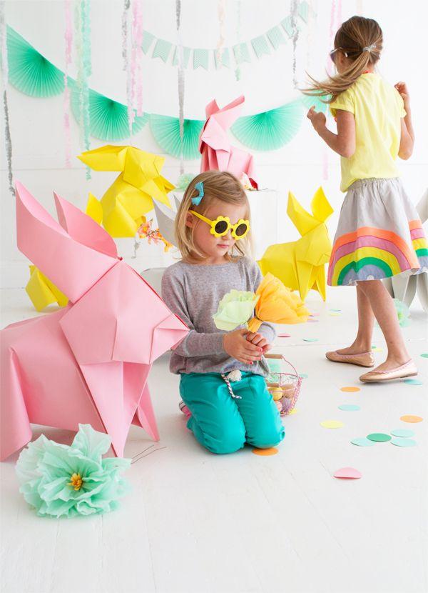 DIY Giant Origami Bunnies / Des lapins géants en origami