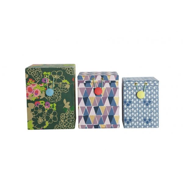 Set of 3 Floral Print Boxes