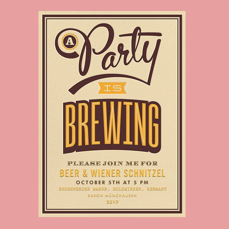 A Party Is Brewing Oktoberfest Party Invitation Template Beer and Wiener Schnitzel Invitation.
