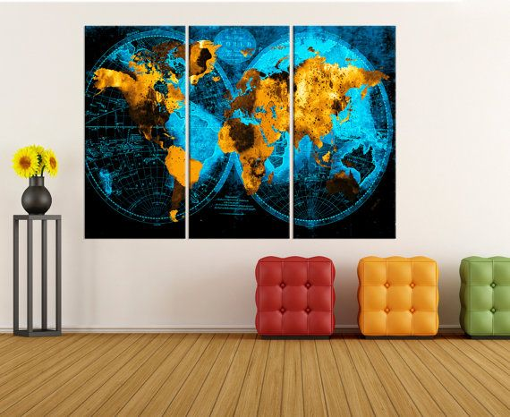 Large canvas print, old world map canvas art, colorful world map wall art canvas, Modern art for living room, world map wall art  No:8S67
