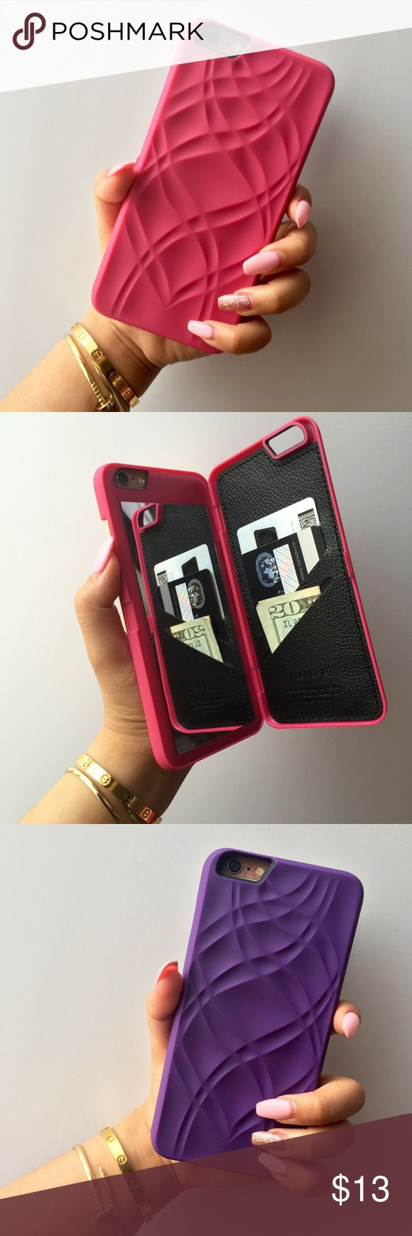 Wallet Mirror Case 100% brand new & high quality Easy snap on/off installation, providing easy access to functions Protects the sides & back of your phone Protection from damage & scratches Anti-fingerprint PU case, featuring a unique design Hidden compartment for credit cards & cash (3 card slots) Perfect view mirror Available in pink, purple & black Accessories Phone Cases