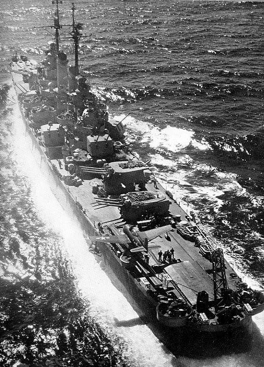 USS Columbia (CL-56) Cleveland-class light cruiser underway in 1943 during World War II.