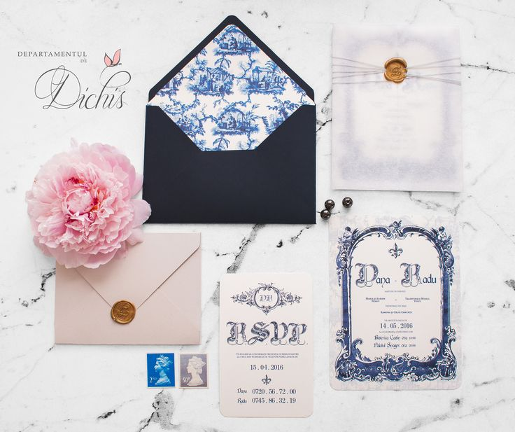 Our amazing Royal Blue Wedding Concept invitation with small and beautiful custom made details.