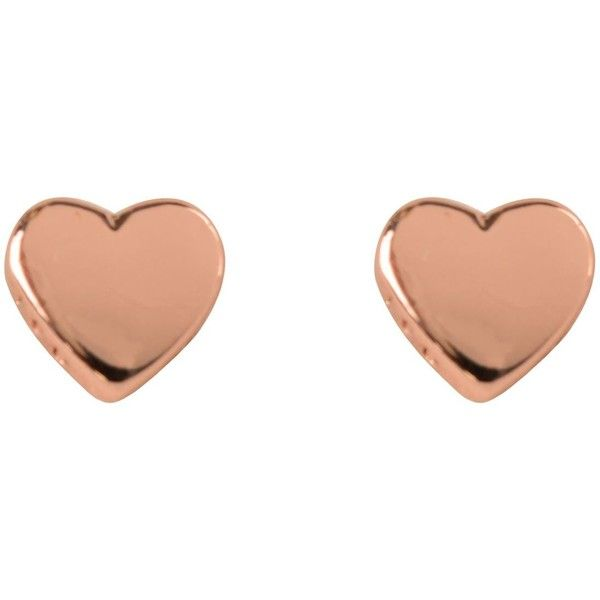 Ted Baker Harly Heart Stud Earrings found on Polyvore featuring jewelry, earrings, rose gold, engraved jewelry, ted baker, red gold jewelry, rose gold stud earrings and pink gold jewelry