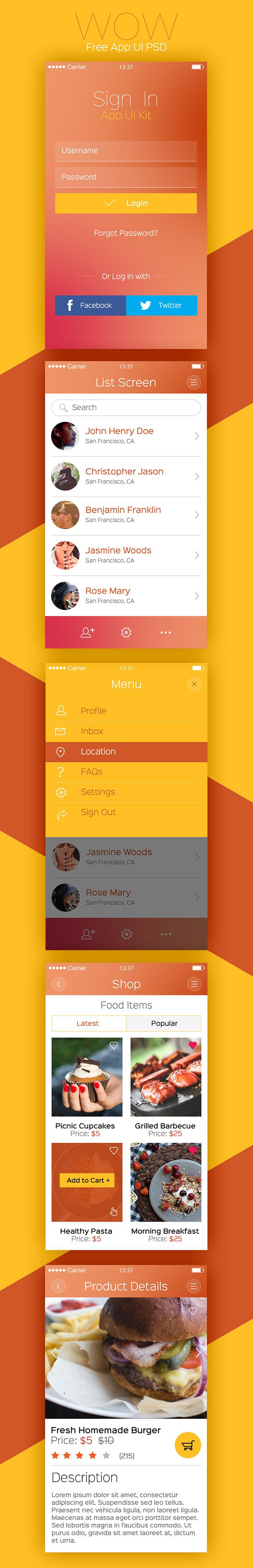 WOW is a sleek and modern mobile app UI concept created especially for iPhone apps. There are 5 screens in the download such as login, list, menu, shop products and product details.