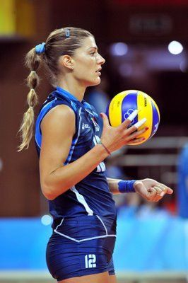 Francesca Piccinini is a female volleyball player from Italy and has competed three times (2000, 2004, and 2008) for the Women's National Team at the Summer Olympics. She was a member of the Women's National Team that won the gold medal at the 2002 World Championship in Germany.