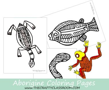 Aboriginal Coloring Pages: Use with Oil Pastels, Colored Sand, Watercolor, Dot Painting....ect Free from The Crafty Classroom