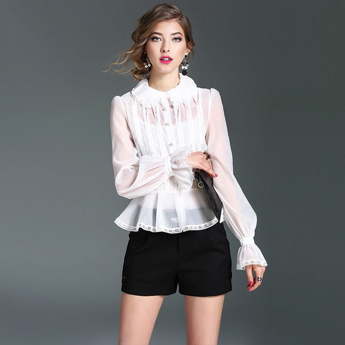 New High End Fashion Blouses 2017 Spring Women Organza Silk Hollow Out Embroidery Pearl Button Black White Sexy Blouses Shirts