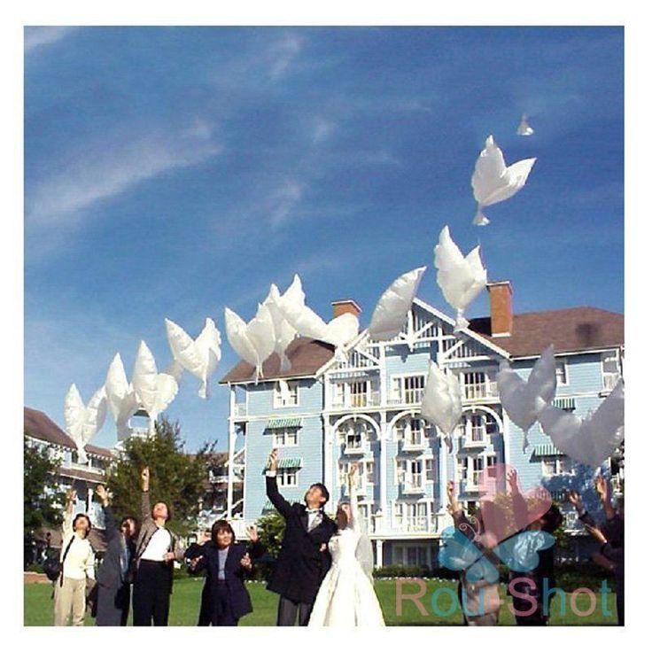 10-100pcs White Dove Peace Pigeons Birds Helium Balloons Decoration Wedding
