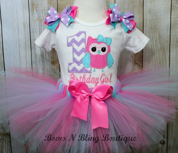 First Birthday Outfit Chevron Owl 1st by BowsNBlingBoutique