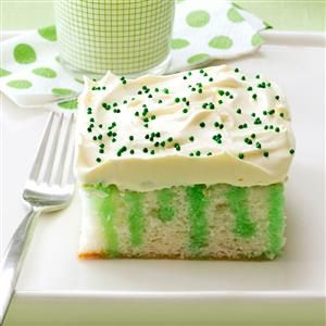 Wearing o' Green Cake Recipe -One bite of this moist, colorful cake and you'll think you've found the pot o' gold at the end of the rainbow. It's the perfect dessert to round out your St. Patrick's Day feast. —Marge Nicol, Shannon, Illinois