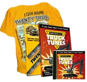 Twenty Trucks .com offers a couple of DVDs a T shirt and a CD full of songs,,If you have some young children who loves the big trucks they will love this, they have a demo section for you to see what they have you get  it all for less than $30.00  My Grandchildren love it
