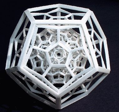 "The 120 Cell is a 4D structure made of 120 regular dodecahedra. This ""shadow"" of it has the form of one large dodecahedron filled in with 11..."