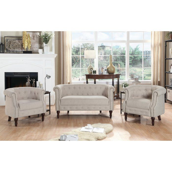 Best Edmeston Chesterfield Loveseat 3 Piece Living Room Set 400 x 300