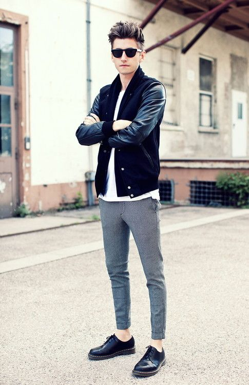 Black Knit and Leather Jacket, Skinny Gray Chinos, and Black Leather Dr. Martins.  Men's Spring Summer Street Style Fashion.