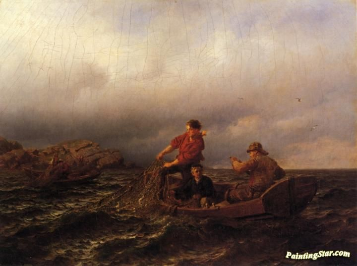 Hauling In The Nets Artwork by Hans Fredrik Gude Hand-painted and Art Prints on canvas for sale,you can custom the size and frame