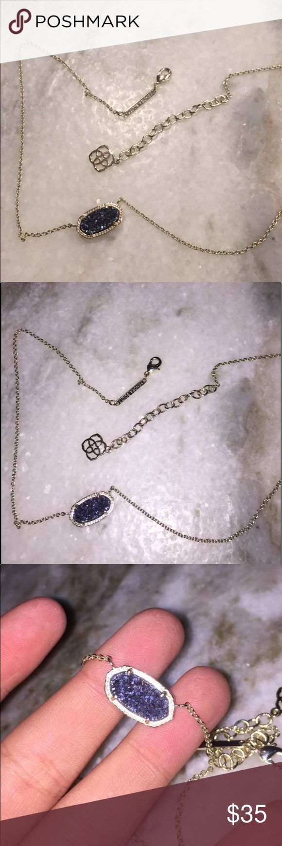 Kendra Scott gold chain necklace with blue pendant Kendra Scott: gold chain, regular necklace length, worn only three times, chain not faded at all, pendant is sparkly navy blue and has a rough texture Kendra Scott Jewelry Necklaces