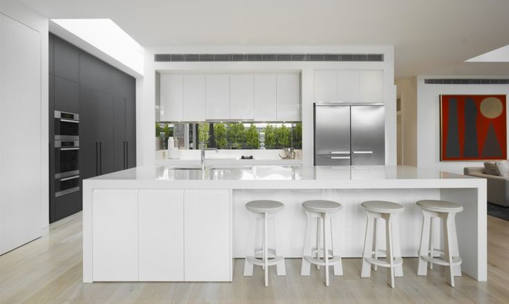 DMH Residence - Mim Design love that this kitchen is basically white but love contrasting cupboard colours. Like the simplicity