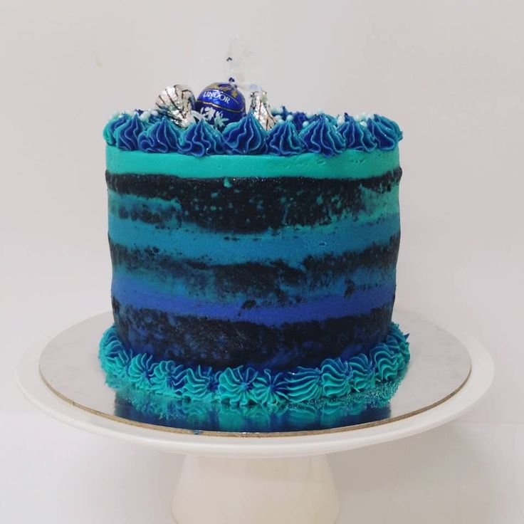 Blue ombre Naked Cake with Matching Toppings