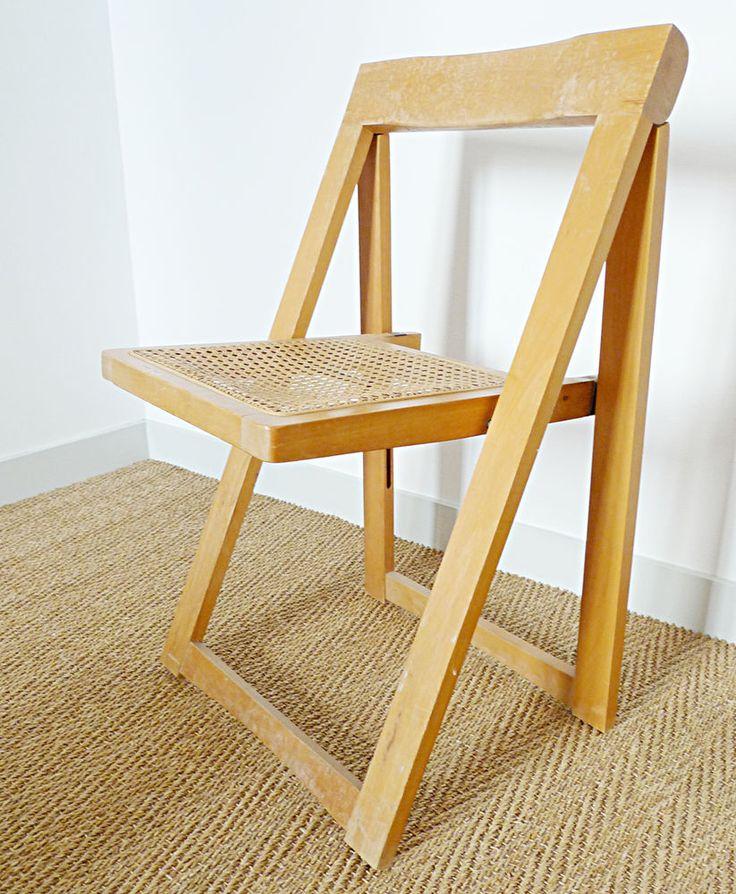 chaise pliante vintage cannée années 70 design Alberto Bazzani 1970