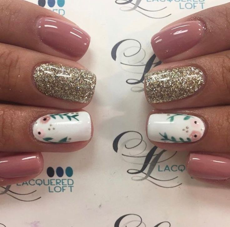 Pink gold white floral