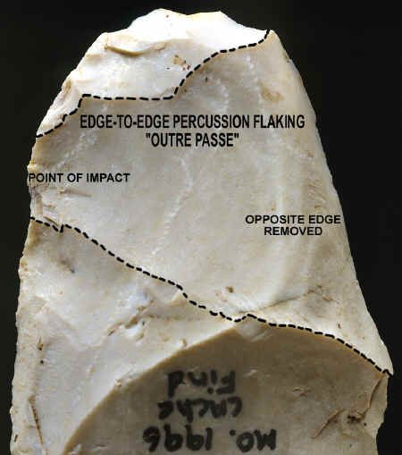 "The above picture shows a magnified view of one of the over shot percussion flake removal scars on a biface from the McKinnis cache. This is a good illustration of a classic break pattern that is often found on Clovis camp and manufacturing sites. Over shot flakes represent a fracturing pattern that is generated from an edge-to-edge or ""outre passe"" style of percussion flaking. This flintknapping technique represents an important diagnostic element of Clovis stone tool manufacturing…"