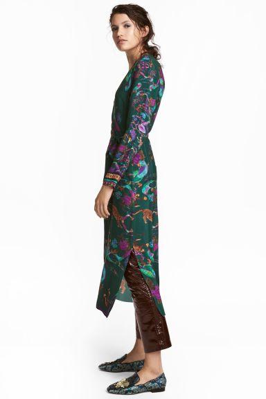 Vestido estampado - Verde escuro/Estampado - SENHORA | H&M PT 1
