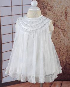Rochita de botez alba cu bluzita
