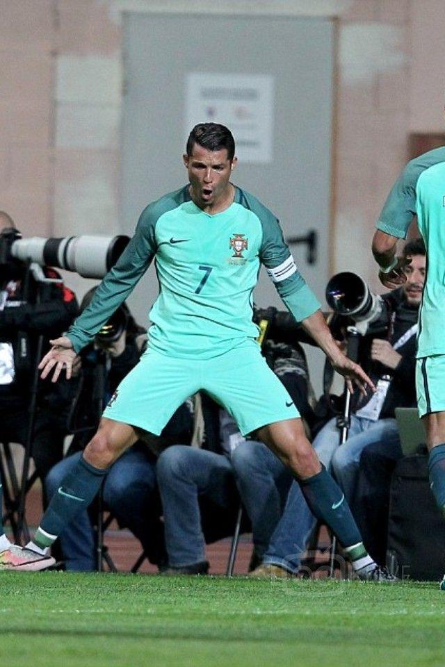 Cristiano Ronaldo wearing Nike Portugal 16/17 Away LS Stadium Jersey, Nike Portugal 16/17 Away Match Short, Nike Portugal 16/17 Away Socks, Nike Mercurial Superfly CR7 Quinhentos