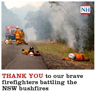 A much deserved rest amongst the relentless firestorm - these are brave volunteers, many far from their own homes  - while others fight to save their neighbours, while their own may be burning. All we can do is pray! 18/10/13