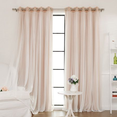lend a touch of elegance to your master suite or guest room with this lovely curtain featuring a design with sheer lace overlay