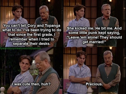 Boy meets world the best show ever!! Why isn't it on like Netflix yet? Because it should be. And I would totally binge watch it if it was there...