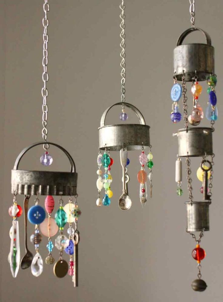 Mini chandeliers made of old silverware, biscuit cutters, and glass beads and…