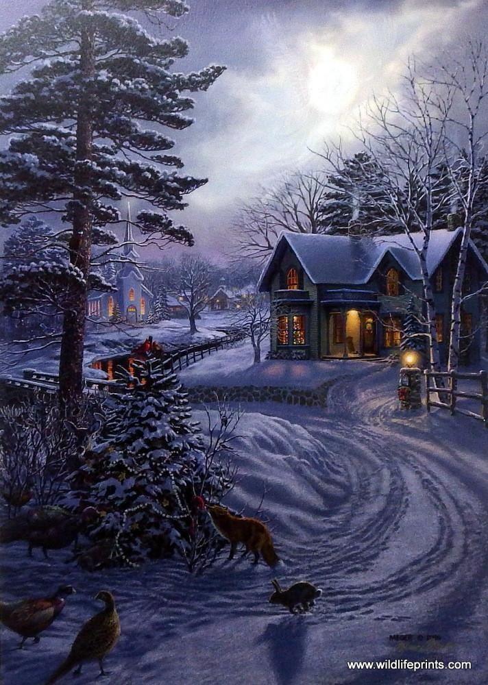 Открытки зимняя ночь