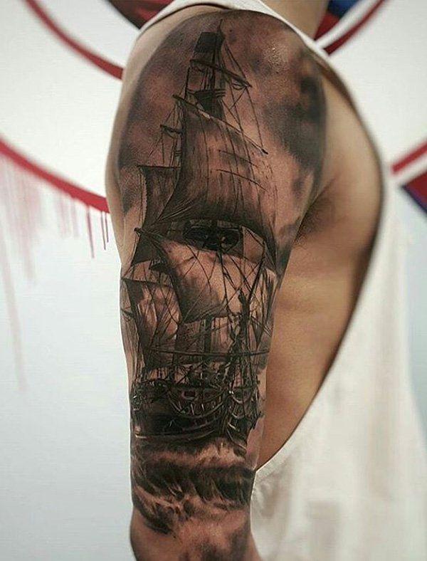 Boat full leeve tattoo for men - 100 Boat Tattoo Designs