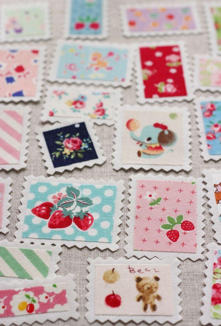 Fabric 'stamps' ~ cutest idea EVER!!! Made by Amy (nanacompany) from Amy Morinaka's book Zakka Handmades.