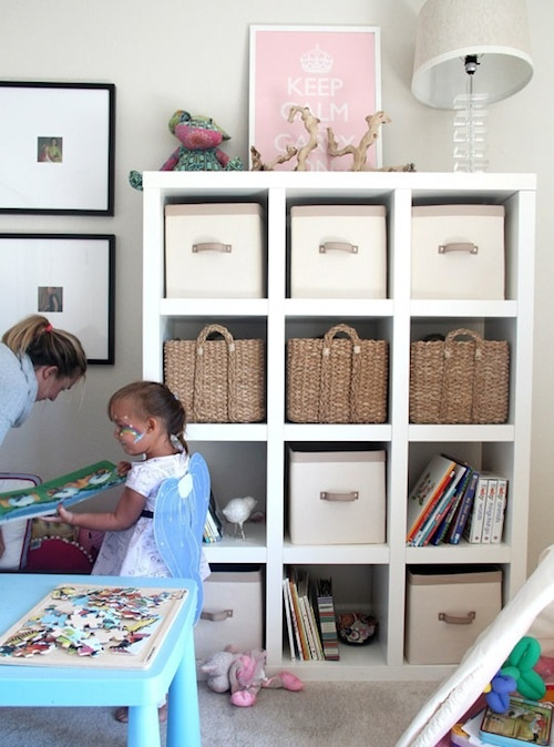 Playroom storage idea....I need some of these cube shelves ...