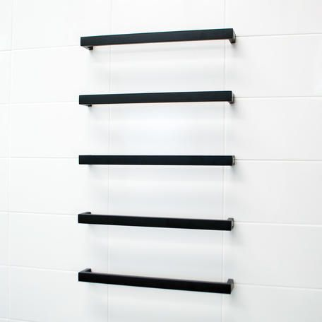 Square Heated Single Bar Towel Rail | Bathroomware House