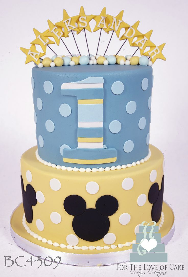 BC4309-baby-mickey-mouse-cake-toronto | BC4309 2 tier blue a… | Flickr