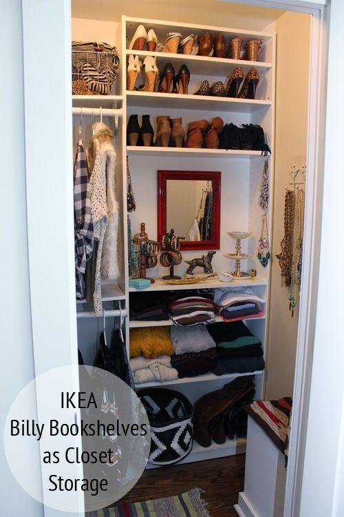 Custom closet using IKEA Billy bookshelves!