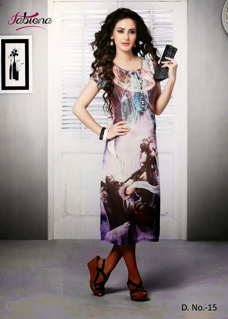 Beautifully Designed Digitally printed Multi-colored Georgette Kurti. Modernized and trendy looking Party wear stuff.